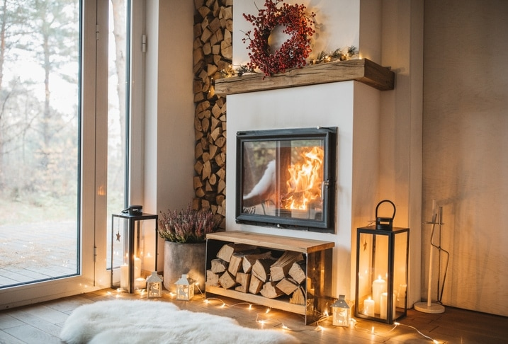 Cozy living room winter interior with fireplace